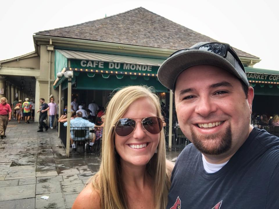 Michael and Shelly standing in front of Cafe Du Monde