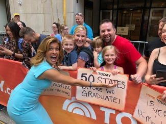 Michael and his family with Hoda at the Today Show in New York. July 5, 2018.